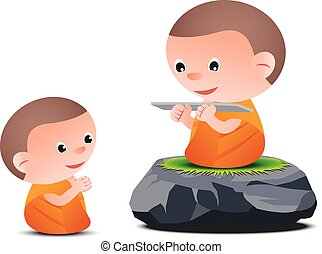 Old monk teaches Dharma to little monk while sitting on big stone, to generate Buddhism
