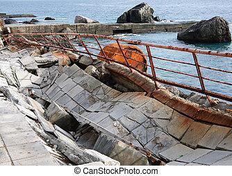 Old moorage on Black sea. Crimea, Ukraine. - Old moorage on...