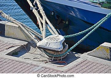 Old mooring bollard in port Odessa, Ukraine