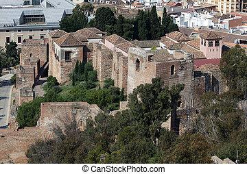 Old moorish fortress La Alcazaba in Malaga, Spain