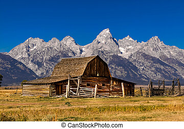 Old Mormon barn in Grand Tetons