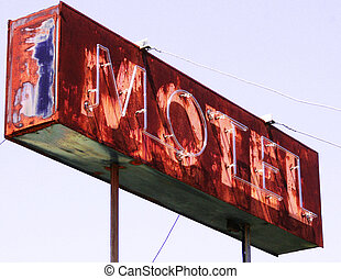 Old motel - Sign on an abandoned hotel
