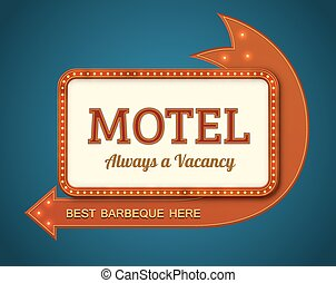 Old motel signboard - Old style American motel road sign....