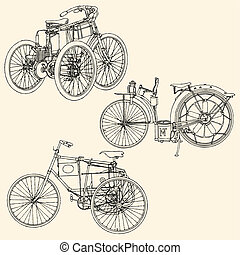 Old motocycle - vector illustration