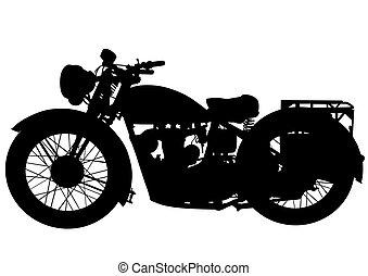 Old motor bike two - Old big bike on white background