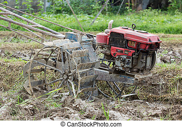 old motor pushcart for ploughing the rice  field