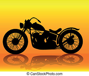 old motorcycle - silhouette of an old motorcycle on an...