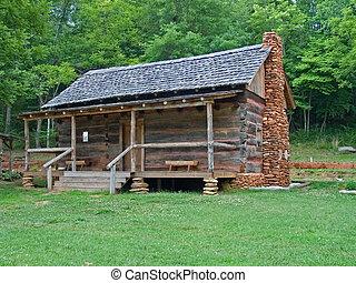 old mountain log cabin