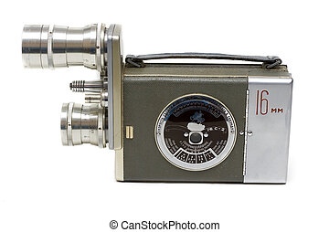 Old movie camera 16 mm with two lenses on white background
