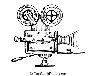 Old movie camera engraving vector illustration
