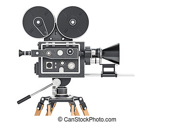 Old Movie Camera Side View 3D Rendering
