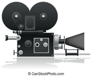 old movie camera vector