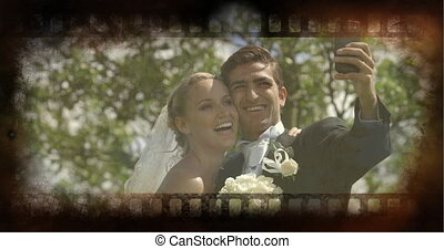 Old Movie tape showing bride and groom taking a selfie outside