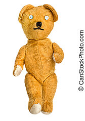 Old, much loved, much repaired, unbranded toy teddy bear
