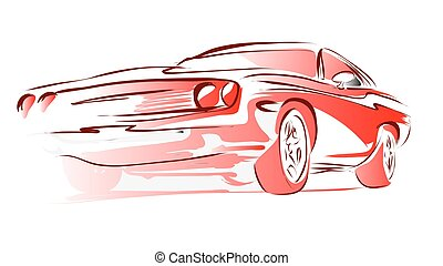 Old Muscle Car, Vector Outline Colored Sketch, Hand Drawn...