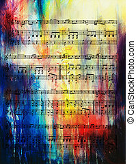 old music note and vintage effect, musical background. - old...