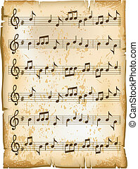 Old music sheet of paper texture with natural patterns, vector illustration