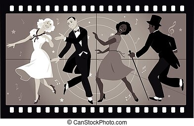 Old musical movie - People in retro stile costumes dancing...