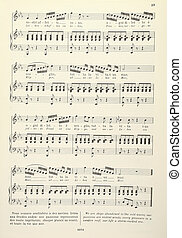 Old musical score - with lyrics - Old musical score - piano...