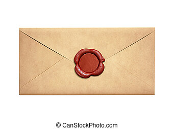 Old narrow letter envelope with red wax seal isolated