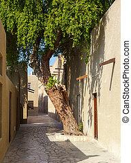 old narrow street in Dubai
