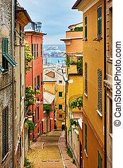 Old narrow street in Genoa