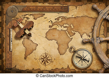 Old nautical map still life as adventure, travel and exploration theme
