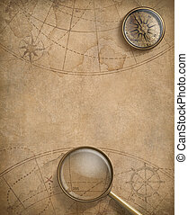 old nautical map with compass and loupe
