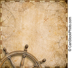 old nautical map with steering wheel - vintage nautical map...