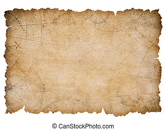 old nautical treasure map with torn edges isolated -...