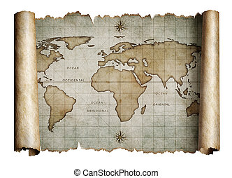 old nautical world map scroll isolated