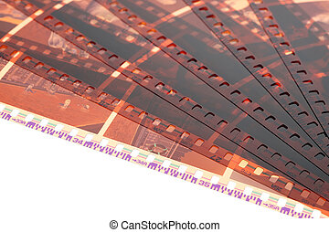 Old negative 35mm film strip on white background