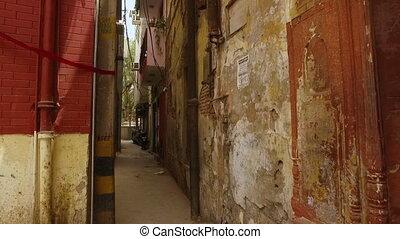 Old neighbourhood blocks - A hand held, long shot of old...