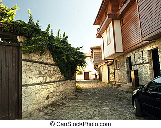 Old Nessebar, Bulgaria - Street in the Old Nessebar Town, ...