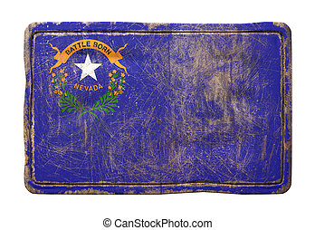 3d rendering of a Nevada State flag over a rusty metallic plate. Isolated on white background.