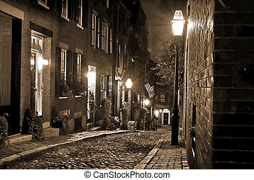 old new england at night - old 19th Century cobble stone ...