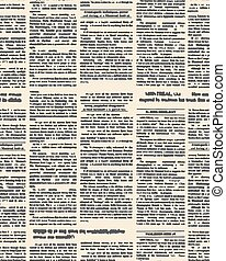 Old newspaper seamless pattern. Vector background of vintage newspaper text with headings. Retro fabric ornament