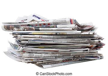 Old Newspaper - Stack of an old newspaper isolated on white