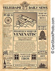 Old newspaper vector template. Retro newsprint with text and...