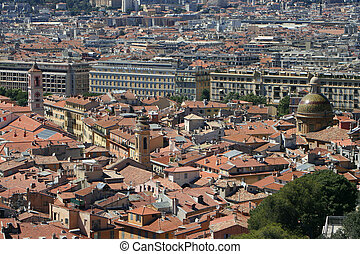 rooftops of the old part of Nice, France
