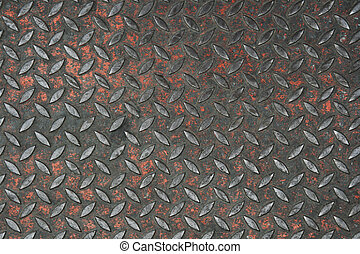 old non-skid metal painted diamond plate background texture