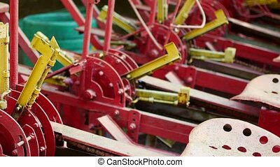 Old non-working agricultural machinery in the museum. - Old...