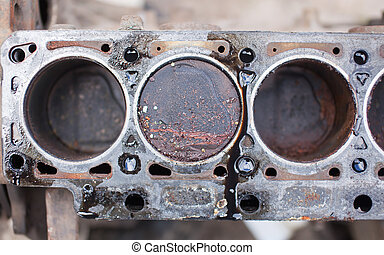 Old non-working engine with rusty pistons