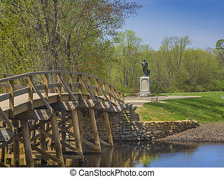 Old north bridge, Concord, MA. USA - Old North Bridge,...