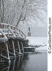 Old north bridge in winter