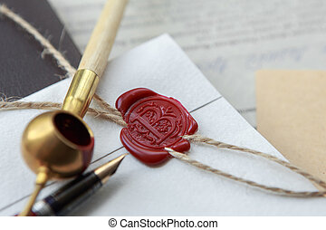 Old notarial wax seal on tied scroll, closeup - Old notarial...