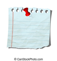 old note paper with push pin on white background