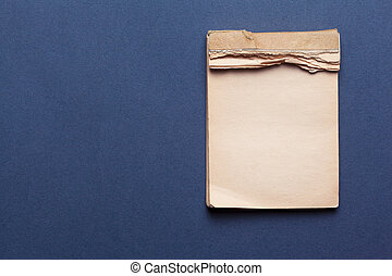 old notebook on gray background