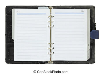 old notebook open isolated on white background with clipping path