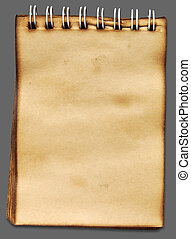 Old notebook paper on gray background with shadow